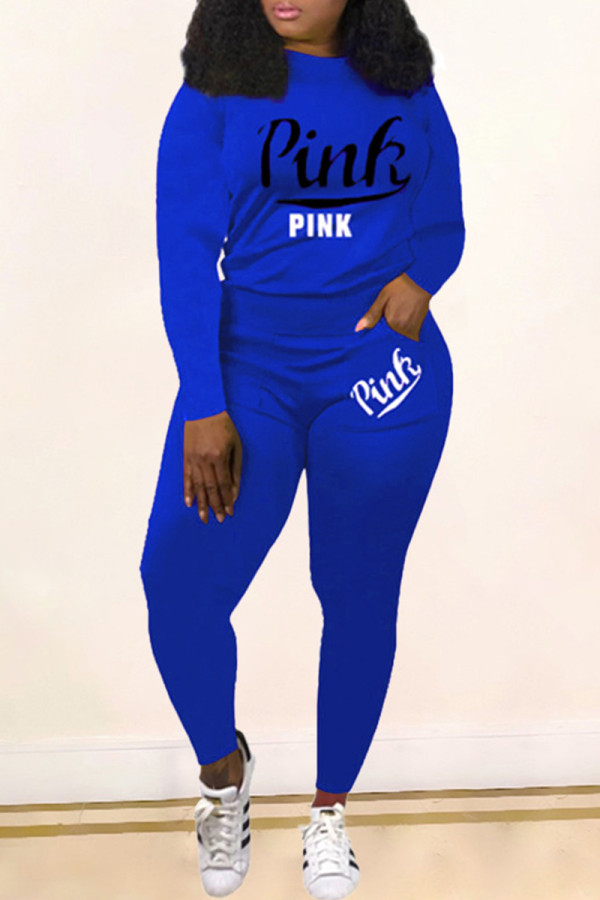 Blue Fashion Casual Letter Print Basic O Neck Long Sleeve Two Pieces