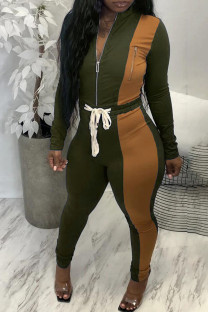 Army Green Casual Solid Split Joint Zipper Zipper Collar Long Sleeve Two Pieces
