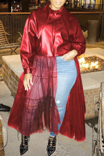 Burgundy Fashion Solid Split Joint Buckle Mesh Turndown Collar Outerwear