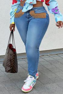 Medium Blue Fashion Street Solid Tassel Plus Size Jeans