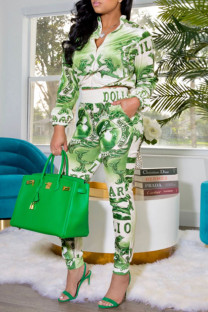 Green Casual Print Split Joint Zipper Collar Long Sleeve Two Pieces