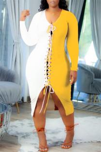 Yellow Fashion Casual Patchwork Bandage V Neck Long Sleeve Dresses