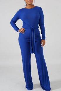 Blue Casual Solid Bandage Split Joint O Neck Long Sleeve Two Pieces