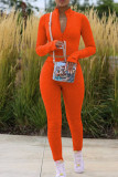 Orange Fashion Casual Solid Basic Zipper Collar Long Sleeve Two Pieces