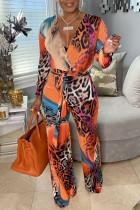 Orange Fashion Casual Print Basic V Neck Regular Jumpsuits