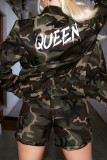 Army Green Casual Street Camouflage Print Split Joint Zipper Long Sleeve Two Pieces