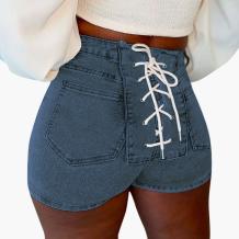 Deep Blue Sexy Solid Draw String Mid Waist Skinny Denim Shorts
