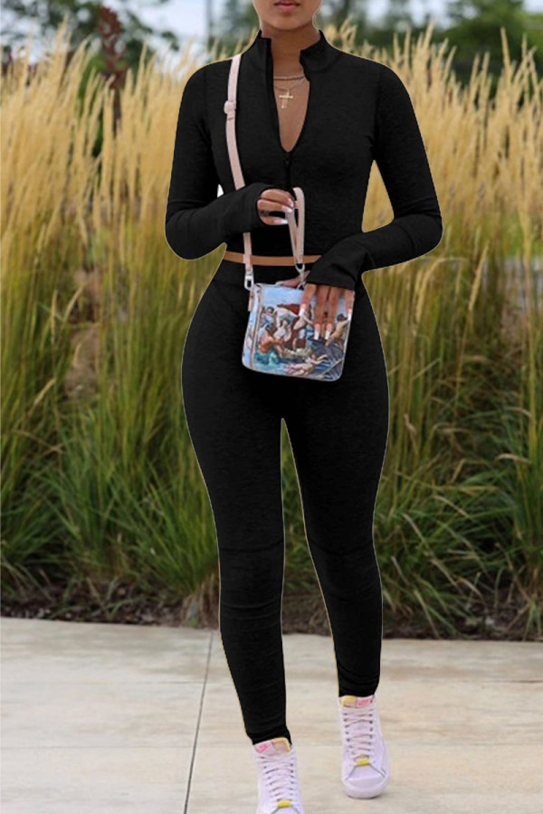 Black Fashion Casual Solid Basic Zipper Collar Long Sleeve Two Pieces