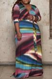 Multi-color Fashion Casual Plus Size Print Basic V Neck Long Dress