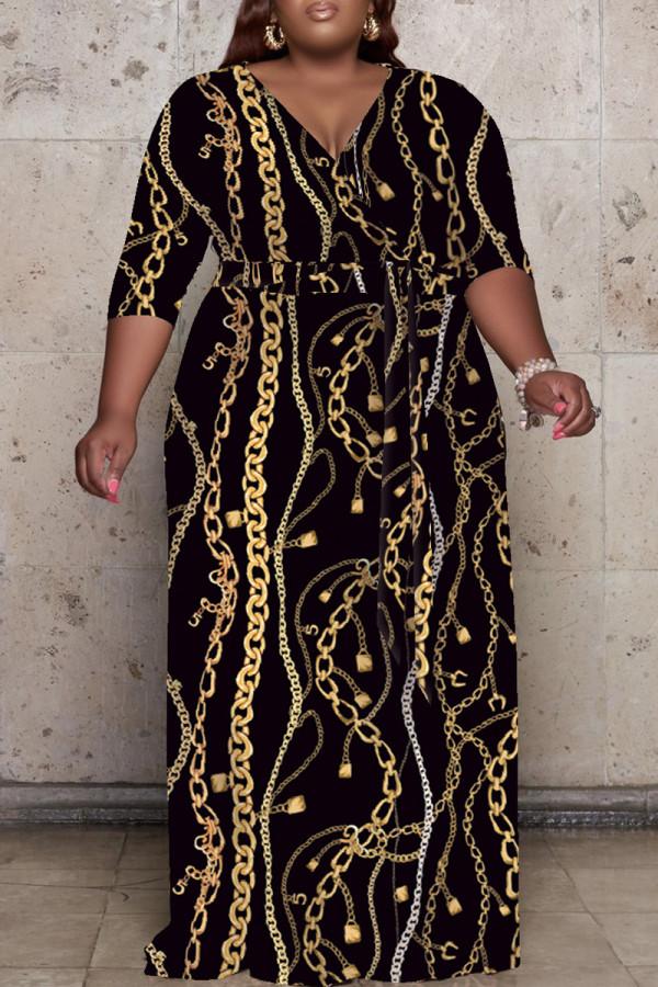 Black Fashion Casual Plus Size Print Basic V Neck Long Dress