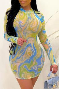 Yellow Sexy Print See-through O Neck Pencil Skirt Dresses