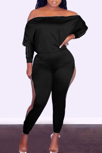 Black Fashion Casual Solid Zipper Off the Shoulder Long Sleeve Two Pieces