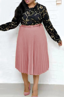 Pink Fashion Casual Print Split Joint O Neck Pleated Plus Size Dresses