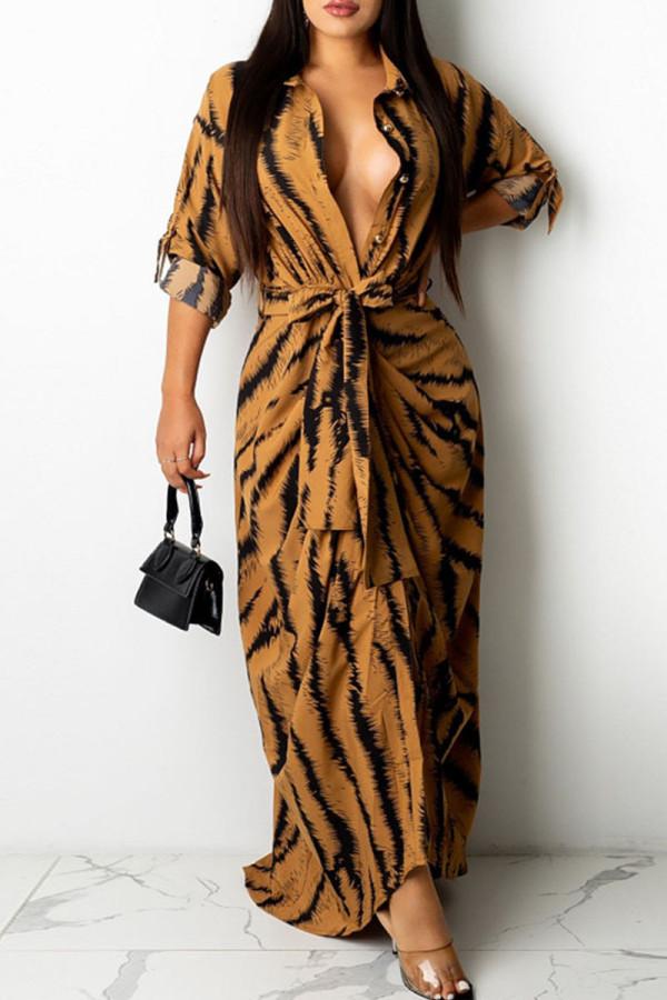 Brown Fashion Sexy Print Split Joint Turndown Collar One Step Skirt Dresses