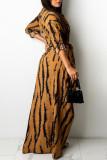 Grey Fashion Sexy Print Split Joint Turndown Collar One Step Skirt Dresses