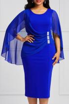 Blue Sexy Solid Mesh O Neck Pencil Skirt Dresses