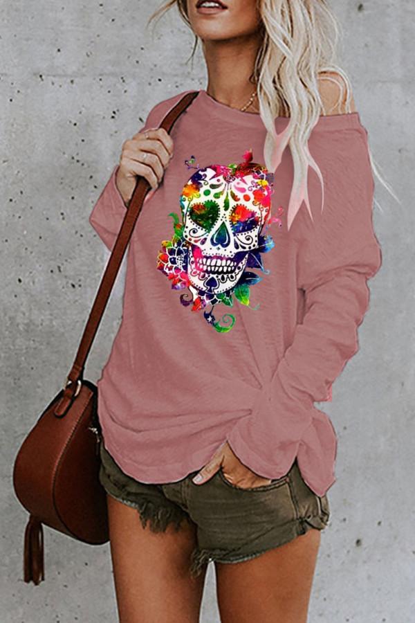 Pink Fashion Street Print Split Joint O Neck Tops