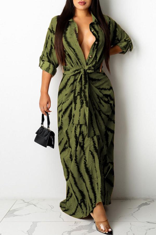 Green Fashion Sexy Print Split Joint Turndown Collar One Step Skirt Dresses