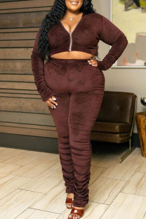 Coffee Casual Solid Split Joint Fold Zipper Zipper Collar Plus Size Two Pieces