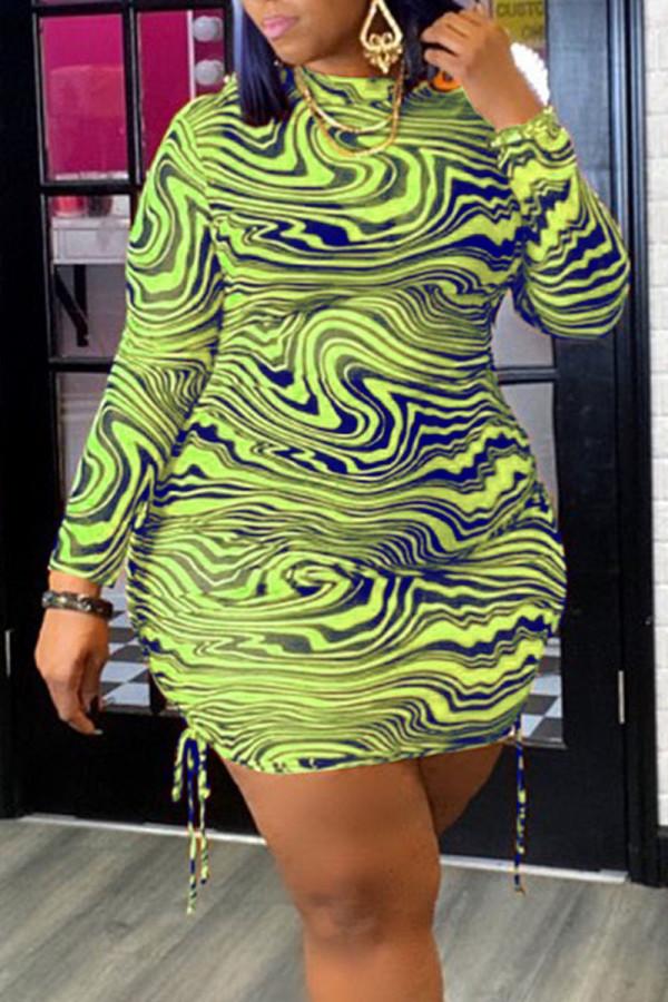 Fluorescent Green Sexy Print Split Joint Frenulum Fold O Neck Pencil Skirt Plus Size Dresses