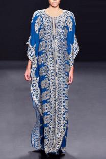 Blue College Print Split Joint O Neck Straight Plus Size Dresses