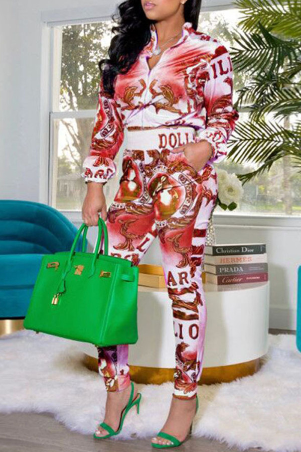 Red Fashion Casual Print Basic Zipper Collar Long Sleeve Two Pieces