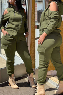 Olive Green Casual Sportswear Solid Hollowed Out Split Joint Hooded Collar Long Sleeve Two Pieces