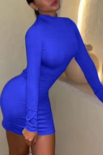 Color Blue Sexy Solid Backless Half A Turtleneck Pencil Skirt Dresses