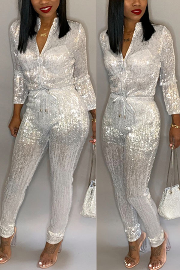White Fashion street Solid Long Sleeve O Neck Jumpsuits