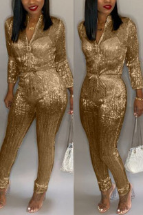 Gold Fashion street Solid Long Sleeve O Neck Jumpsuits