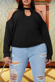 Black Fashion Casual Solid Split Joint O Neck Plus Size Tops