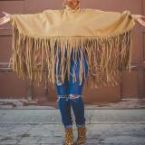 Burgundy Fashion Vintage Solid Tassel Turtleneck Plus Size Overcoat