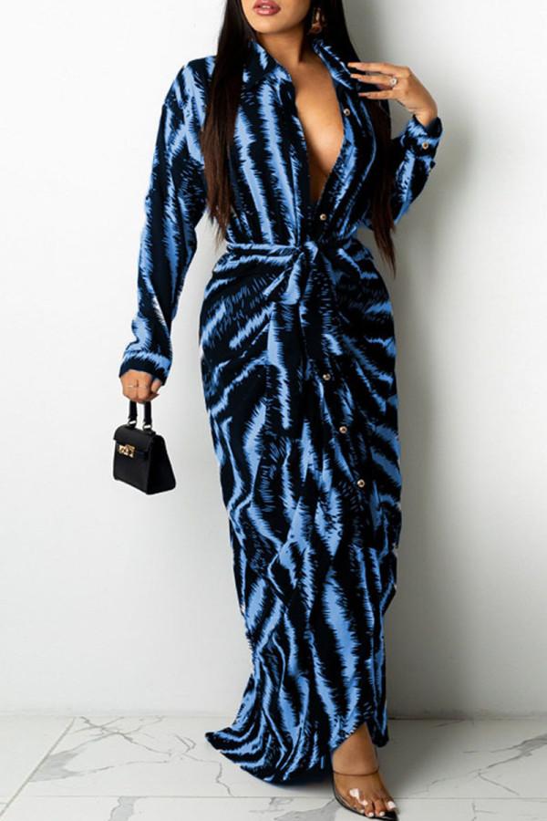 Blue Black Fashion Sexy Print Split Joint Turndown Collar One Step Skirt Dresses