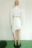 White Fashion Patchwork Solid Bandage Asymmetrical V Neck Long Sleeve Two Pieces