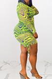 Brown Sexy Print Split Joint Frenulum Fold O Neck Pencil Skirt Plus Size Dresses