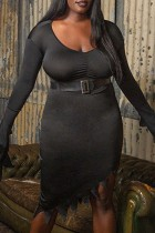 Black Fashion Sexy Solid With Belt Asymmetrical V Neck Long Sleeve Plus Size Dresses