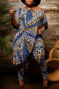 Leopard Print Fashion Casual Print Asymmetrical Off the Shoulder Plus Size Two Pieces