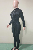 Black Fashion street Solid Long Sleeve O Neck Jumpsuits