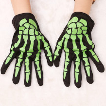 Green Halloween Fashion Casual Skeleton Printing Gloves
