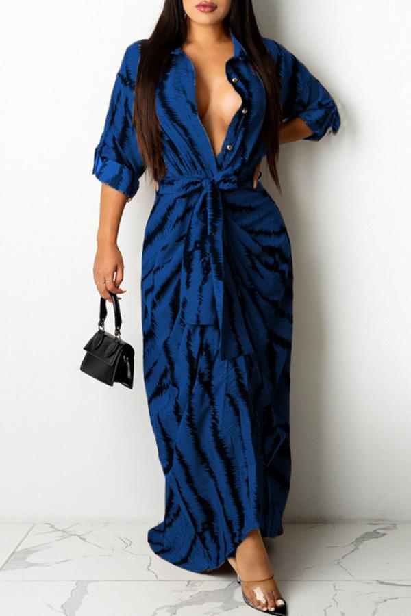 Blue Fashion Sexy Print Split Joint Turndown Collar One Step Skirt Dresses