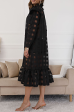 Black Sexy Plaid Flounce Half A Turtleneck Irregular Dress Dresses