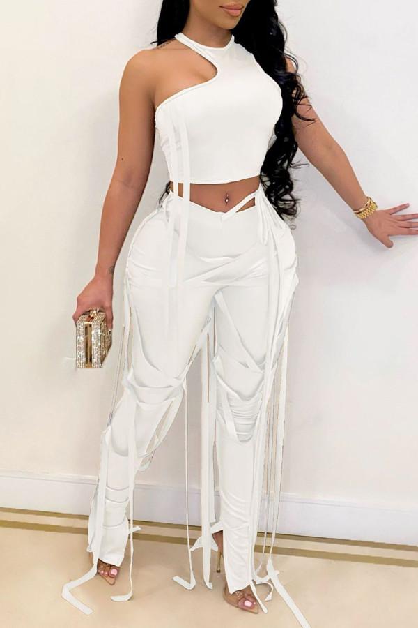 White Fashion Sexy Solid Bandage O Neck Sleeveless Two Pieces