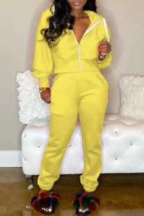 Yellow adult Casual Fashion Zippered Two Piece Suits Solid pencil Long Sleeve