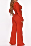 Brown Fashion Sexy Solid Hollowed Out Square Collar Jumpsuits