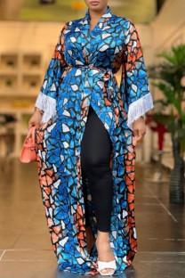 Multicolor Fashion Vintage Print Split Joint Turndown Collar Plus Size Overcoat