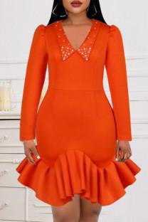 Orange Fashion Sexy Solid Split Joint V Neck Wrapped Skirt Dresses