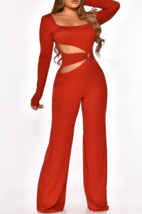 Red Fashion Sexy Solid Hollowed Out Square Collar Jumpsuits
