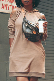 Khaki Fashion Casual Solid Split Joint Hooded Collar A Line Dresses
