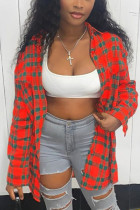 Red Casual Plaid Shirt Collar Tops