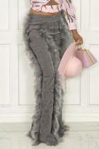 Grey Fashion Solid Split Joint Feathers Boot Cut High Waist Speaker Solid Color Bottoms